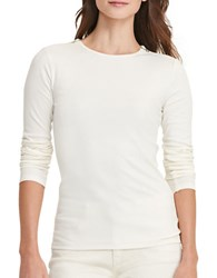 Lauren Ralph Lauren Petite Zip Shoulder Cotton Tee Ivory