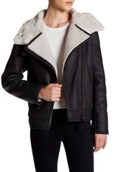 Mackage Genuine Sheepskin Leather Trim Bomber Jacket Black