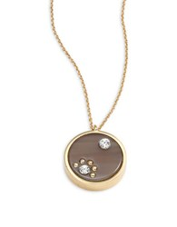Kate Spade Out Of Her Shell Pave Pendant Necklace Brown