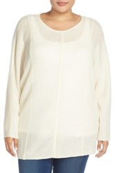 Sejour Wool And Cashmere Dolman Sleeve Sweater Plus Size White