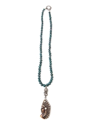 Cb Bronfman Indian Beaded Necklace Green