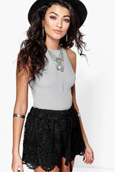 Boohoo Crochet Trim Runner Shorts Black