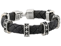 King Baby Studio Small Braided Leather Bracelet W Mb Cross Stations And Square Hook Clasp