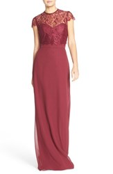 Women's Hayley Paige Occasions Strapless Chiffon A Line Gown With Removable Lace Overlay