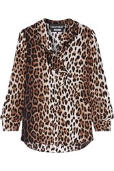 Boutique Moschino Ruffle Trimmed Leopard Print Crepe De Chine Blouse