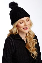 14Th And Union Chunky Fur Pom Beanie Black