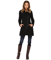 Jessica Simpson Asymmetrical Braided Wool Coat With Shawl Collar Black Women's Coat