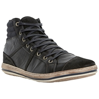 Dune Solar Eclipse Leather Hi Top Trainers Black