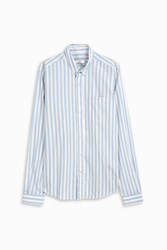Ami Alexandre Mattiussi Striped Button Down Shirt Blue