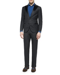 Brunello Cucinelli Peak Lapel Wool Tuxedo Dark Gray