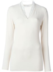 Brunello Cucinelli Ruffled V Neck Longsleeved T Shirt Nude And Neutrals