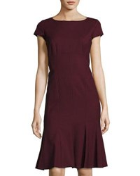 Lafayette 148 New York Edwina Short Sleeve Flounce Dress Crimson