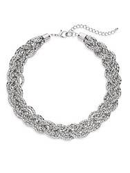 Saks Fifth Avenue Mesh Braided Collar Necklace Silver