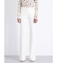 Alexander Mcqueen Bootcut Mid Rise Crepe Trousers Silk White
