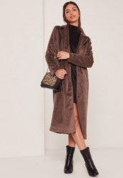 Missguided Faux Pony Skin Tailored Coat Brown