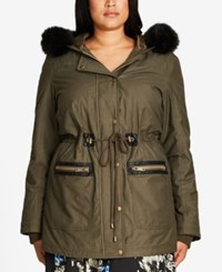 City Chic Trendy Plus Size Faux Fur Trim Parka Olive