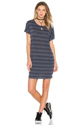 Stateside Stripe Supima Slub Jersey Tee Dress Gray