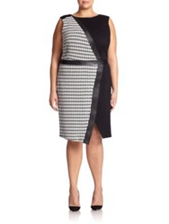 Abs Plus Size Houndstooth Mixed Media Sheath Black White