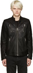 Diesel Black Leather L Rambo Jacket