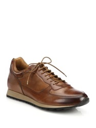 To Boot Sheridan Burnished Leather Sneakers Cognac