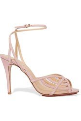 Charlotte Olympia Octavia Cutout Suede Sandals Pink