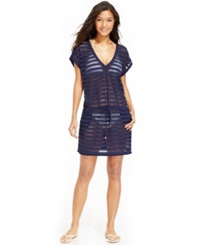 Calvin Klein Open Knit Striped Tunic Cover Up Women's Swimsuit Navy