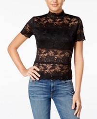 Guess Shayna Mock Turtleneck Lace Top Jet Black