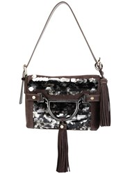 Borbonese Tassel Detail Shoulder Bag Grey