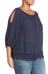 Bobeau Plus Size Women's Cold Shoulder Lace Trim Top Navy