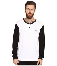 Obey Note Long Sleeve Henley White Multi Men's Clothing