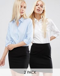 Asos 3 4 Sleeve Shirt 2 Pack White Light Blue