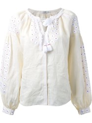 Vita Kin Flower Embroidered Blouse White