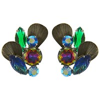 Eclectica Vintage 1950S Silver Plated Leaf Rhinestone Clip On Earrings Blue Green