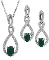 Macy's Emerald 9 10 Ct. T.W. And Diamond Accent Pendant Necklace And Drop Earrings Set In Sterling Silver