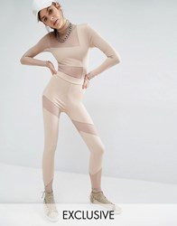 Bones Leggings With Mesh Inserts Nude Beige