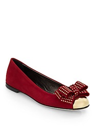 Giuseppe Zanotti Studded Bow Metallic Capped Toe Suede Flats Red