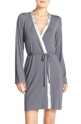 Calvin Klein Women's 'Essentials' Short Robe Charcoal Silverstone