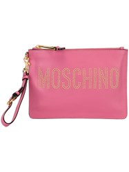 Moschino Stud Embellished Logo Clutch Pink And Purple