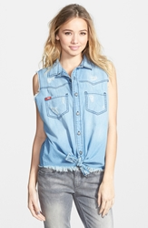Lee Cooper Distressed Sleeveless Chambray Top Juniors Simply Best Blue