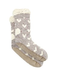 White Stuff Heart Emb Spacey Slipper Sock Multi