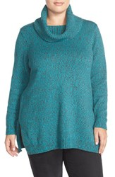 Plus Size Women's Ellen Tracy Cowl Neck Sweater Teal