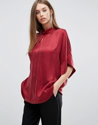 Selected Short Sleeve Loose Top Cabernet Red