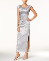 Connected Metallic Draped Slit Gown Pewter