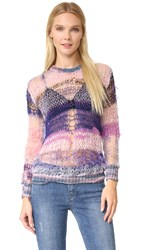 Rodarte Loose Knit Shimmer Sweater Pink Purple