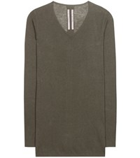 Rick Owens Cotton And Cashmere Sweater Green