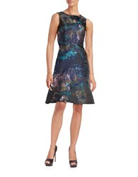 Chetta B Textured Sleeveless Dress Navy Multi