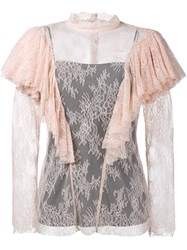 Philosophy Di Lorenzo Serafini Lace Ruffle Blouse Nude And Neutrals