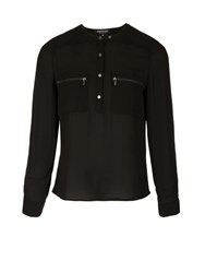 Morgan Chiffon Blouse With Overstitchings Black