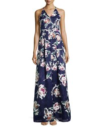 Phoebe Couture V Neck Floral Print Ball Gown Blue Multi