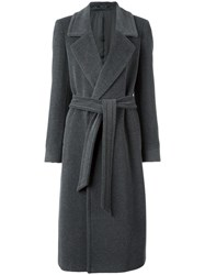 Tagliatore Belted Trench Coat Grey